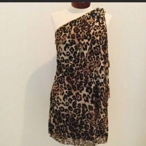 Cache leopard print, one arm mini dress dress,siz4